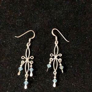 Chandelier earrings w/blue beads in 925 sterling